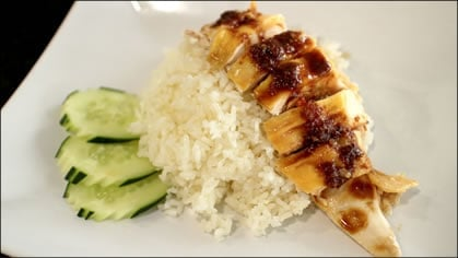 Hainanese Chicken Rice ข้าวมันไก่ (kao mun gai)