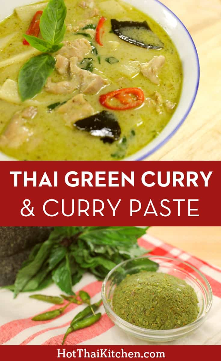 Recipe & video for a truly authentic Thai green curry plus how to make green curry paste from scratch for those who love to DIY! Enjoy this truly classic Thai dish! #greencurry #thaifood #thaicurry #thaigreencurry