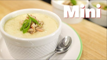 Steamed Egg with Crab and Mushrooms (mini) kai toon