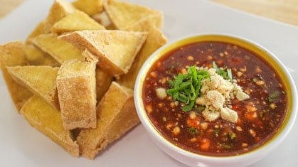 Fried Tofu with Sweet Chili Peanut Sauce