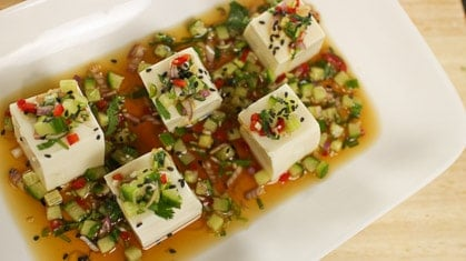 Chilled Tofu & Herb Salad ยำเต้าหู้เย็น (yum tao hu yen)