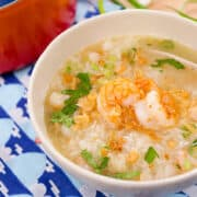 kao tom goong, thai rice soup with shrimp