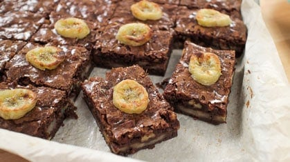Roasted banana brownies