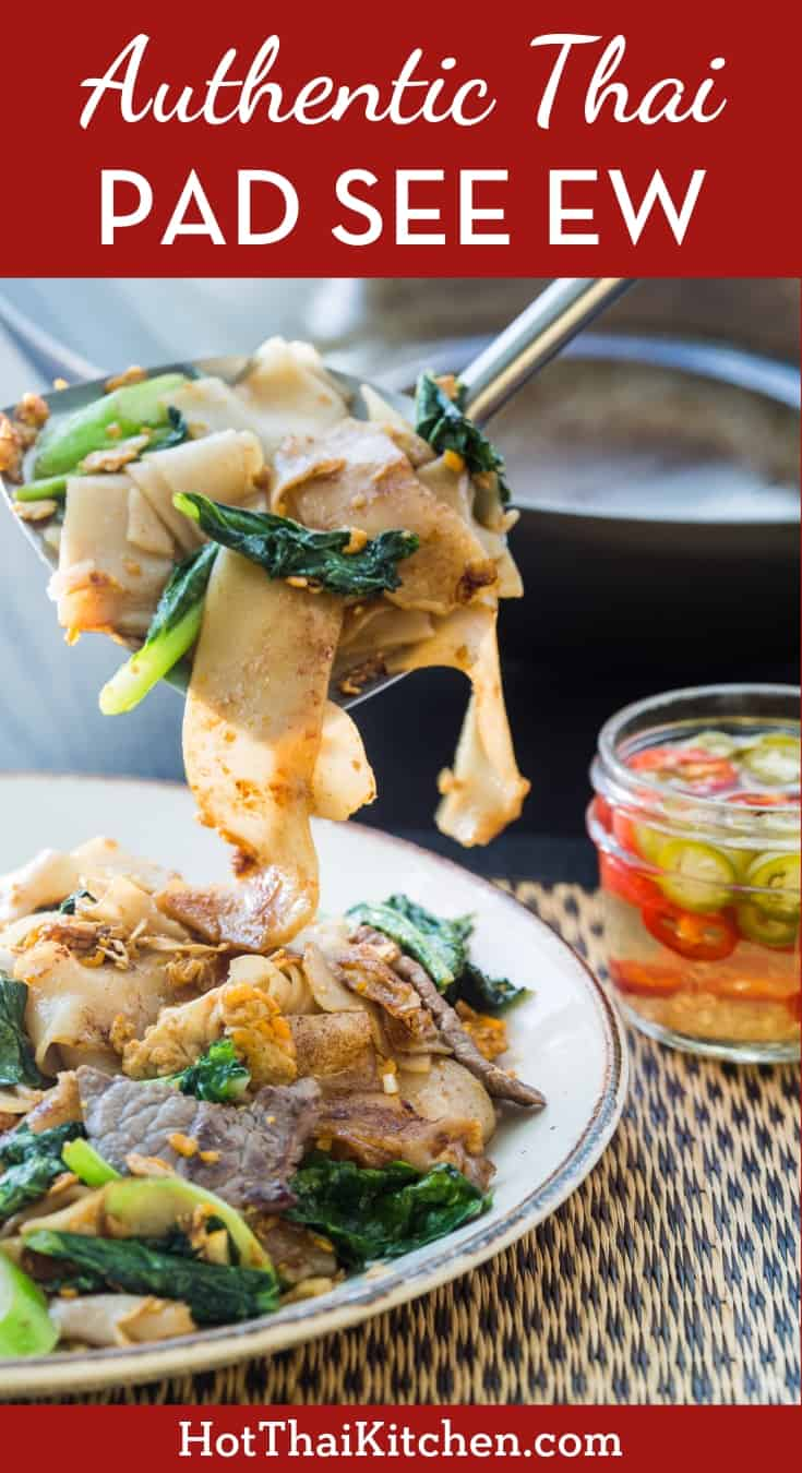 The ultimate Thai street food you can make at home. Pad see ew is a classic rice noodle stir-fry, and this popular recipe has been made successfully by so many around the world! #thaifood #streetfood #padseeew #hotthaikitchen