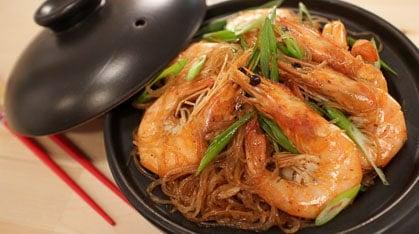Ginger Shrimp & Glass Noodles กุ้งอบวุ้นเส้น Goong Ob Woonsen