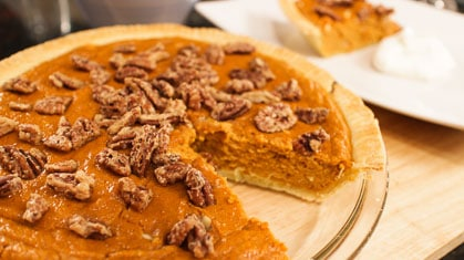 White Chocolate Pumpkin Pie with Candied Pecans