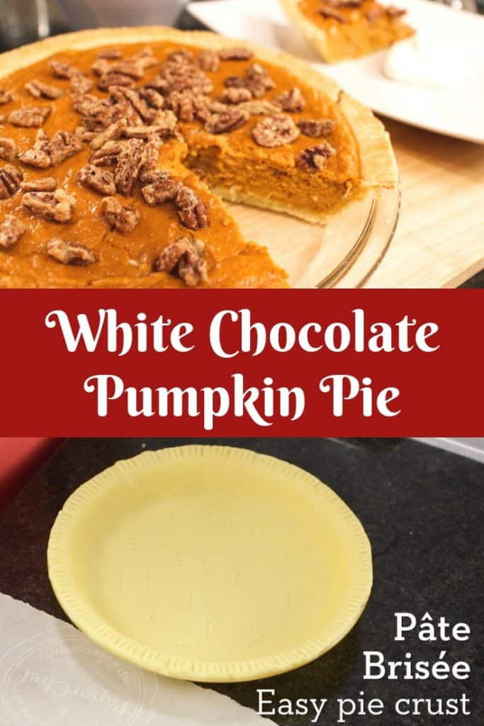 Pumpkin pie for people who don't like pumpkin pies. Light, yet creamy filling scented with citrus and flavoured with white chocolate. The candied pecans give the crunch that's key! #pumpkinpie #thanksgiving