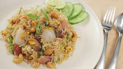 Lychee Fried Rice w/ Chinese BBQ Pork ข้าวผัดลิ้นจี่หมูแดง