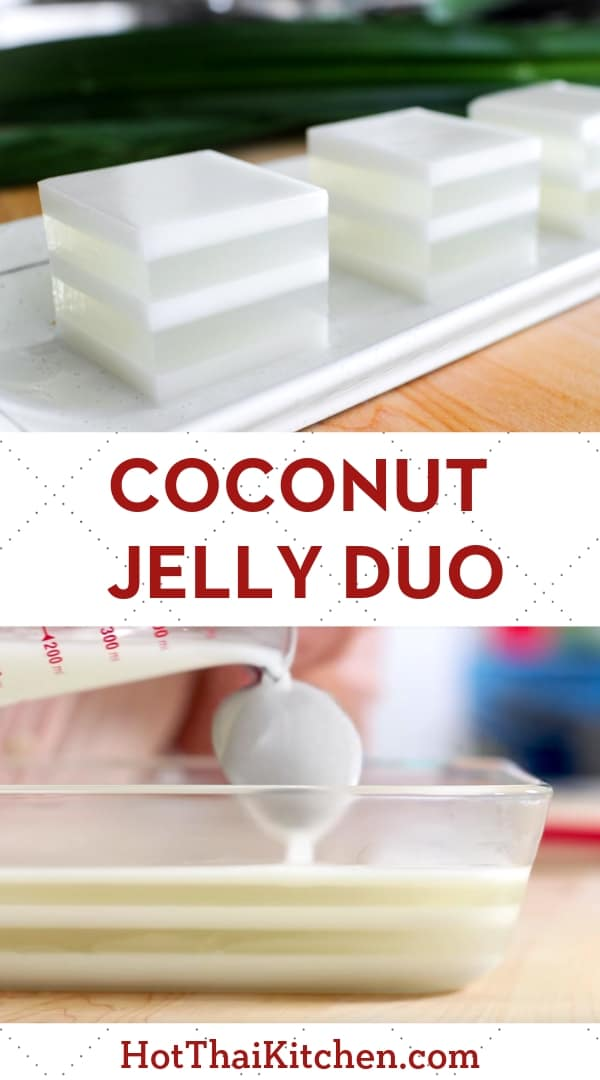 Beautiful summer dessert recipe with layers of coconut water jelly alternating with coconut milk. It's a classic no-bake Thai dessert that is vegan, gluten free and delicious! #nobake #coconut #summerdessert #vegandessert