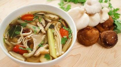 vegetarian mushroom tom yum soup recipe video tutorial