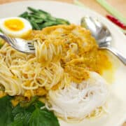 Rice Noodles with Fish Curry Sauce ขนมจีนนำ้ยา