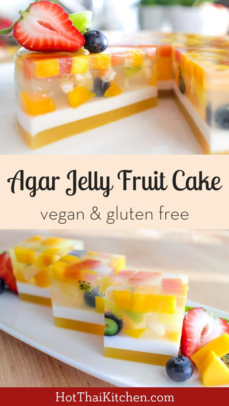 This beautiful, no bake dessert is light, healthy filled with fresh fruit—perfect for the summer. Agar jelly is also vegan friendly! #vegan #dessert #nobake #healthy #fruit #agar #jelly