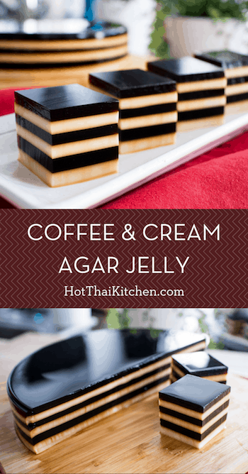 This is an easy, no bake, coffee dessert recipe that is a showstopper for the summer! Agar jelly is used instead of gelatin, which makes it vegetarian, or vegan if you only use coconut milk. It's also gluten free! #coffeedessert #summerdessert #nobake