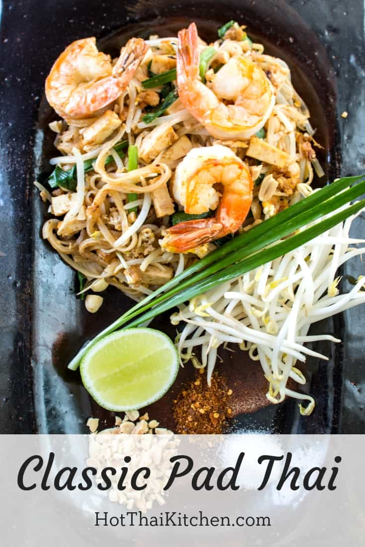 This pad thai recipe is as authentic as it gets. It's the most classic dish in Thai cuisine, and while there are many versions of pad thai, this one is our most traditional one! #padthai #thaifood #glutenfree #noodlerecipe #thairecipe