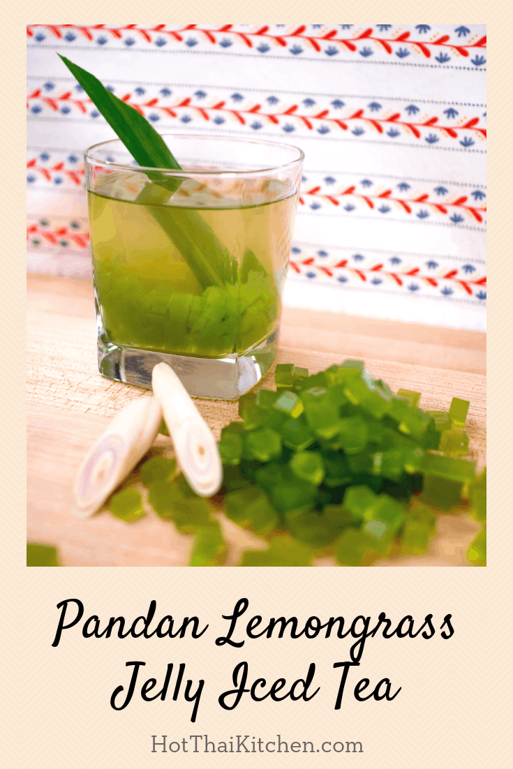 Pandan lemongrass tea is a Thai herbal iced tea that is so fragrant and soothing. This recipe has pandan jelly cubes in them, made from agar agar so they're vegan! Delicious and fun to eat, and your house will smell amazing when you make it! #herbaltea #pandan #recipe #lemongrass #thaitea