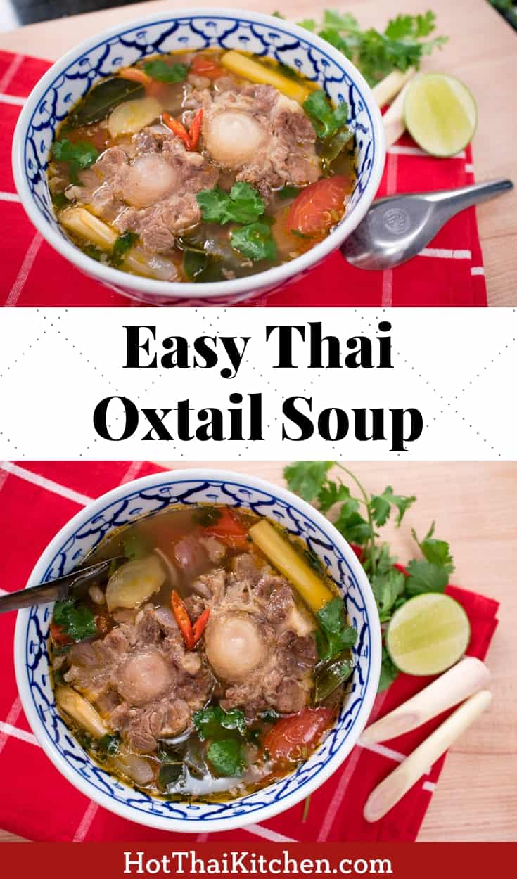 This easy Thai oxtail soup recipe is healthy and so comforting! The perfect winter or fall dish, and the ultimate comfort food. You can cook it stove top, or use your crockpot or instant pot to make it a bit easier for you! #oxtailsoup #lowcarb #paleo #glutenfree #thaifood #comfortfood