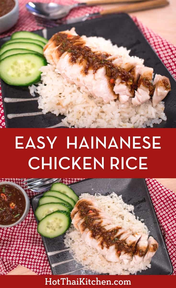 Easy Hainanese Chicken Rice. The traditional method is a bit of a project, but this recipe turns it into a quick weeknight meal! Tender chicken is cooked with ginger and garlic-infused rice, and topped with a delicious dipping sauce unique to the Thai version of this dish. #hainanesechickenrice #chickendinner #easymeal #thaifood #hotthaikitchen