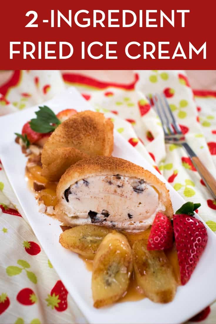 Super easy, 2-ingredient recipe for deep fried ice cream! Make this in advance and keep them in your freezer and you'll have a delicious no-bake dessert ready in a few minutes. This is the Thai way of frying ice cream, using only sandwich bread as the crust, and it is SO delicious! #friedicecream #nobake #dessert #hotthaikitchen #deepfriedicecream