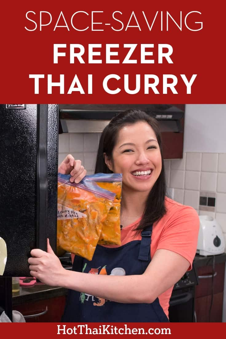 Tricks & tips for making a Thai curry for the freezer so that it will reheat well AND saves you some freezer space. Try it and I promise you wouldn't know it was ever frozen! #freezermeal #freezercurry #thaifood #hotthaikitchen