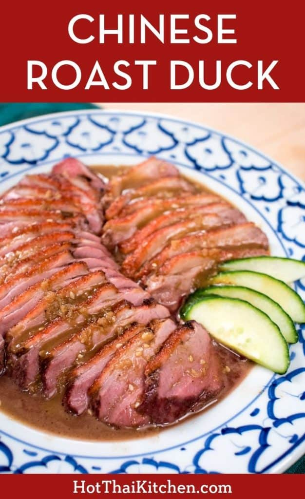 Beloved Chinese roast duck done Thai-style. This recipe comes with a delicious peppery coconut gravy scented with five-spice. Easy and delicious. #BBQduck #thaifood #roastduckrecipe
