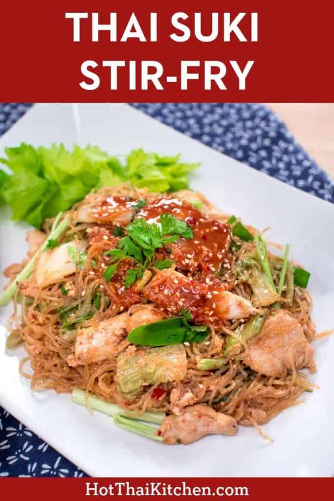 This stir-fried glass noodle dish is a popular Thai street food that gets its iconic flavour and cool from a unique and delicious sauce. #thaifood #sukiyaki #thaistreetfood