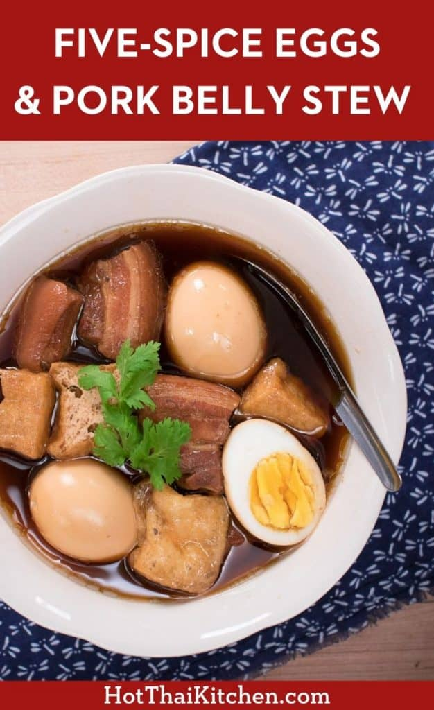 Delicious and kid-friendly, this Thai dish is a stew of eggs and pork belly in a five-spice broth. Perfect recipe for the Instant Pot or stovetop! #thaifood #instantpot #Porkbelly