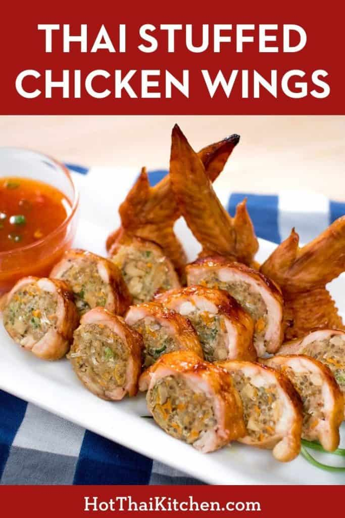 A unique and delicious appetizer recipe that's perfect for the holidays. Wings stuffed with pork and glass noodles. Guaranteed to get people talking! #thaifood #holidayrecipe #wingrecipe #partyappetizer