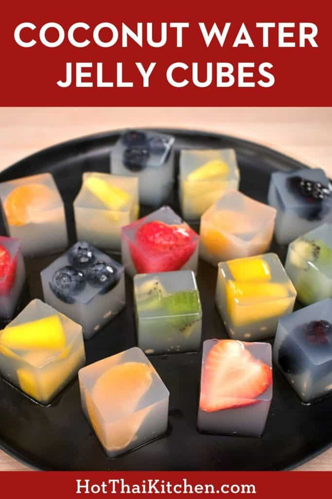 Coconut water agar jelly with fresh fruit. Beautiful, easy, healthy dessert perfect for Valentine's Day! You can even pack them up as an edible gift, and they're naturally vegan and gluten free! #ValentinesDayDessert #coconutwater #vegandessert #nobakedessert
