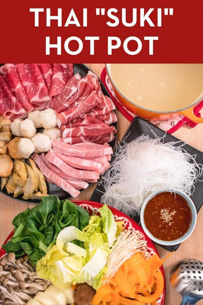 """How to host the perfect hot pot party, plus my recipe for an amazing """"MK Suki"""" sauce! Healthy and delicious, hot pot is a fun and interactive way to share a meal with loved ones. #sukiyaki #hotpot #thaifood"""