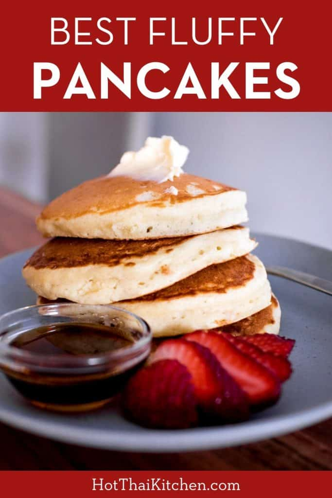 Super fluffy pancake recipe for the perfect morning. A few secret ingredients make these light, tender, and perfect for any toppings. #breakfastrecipe #pancakes