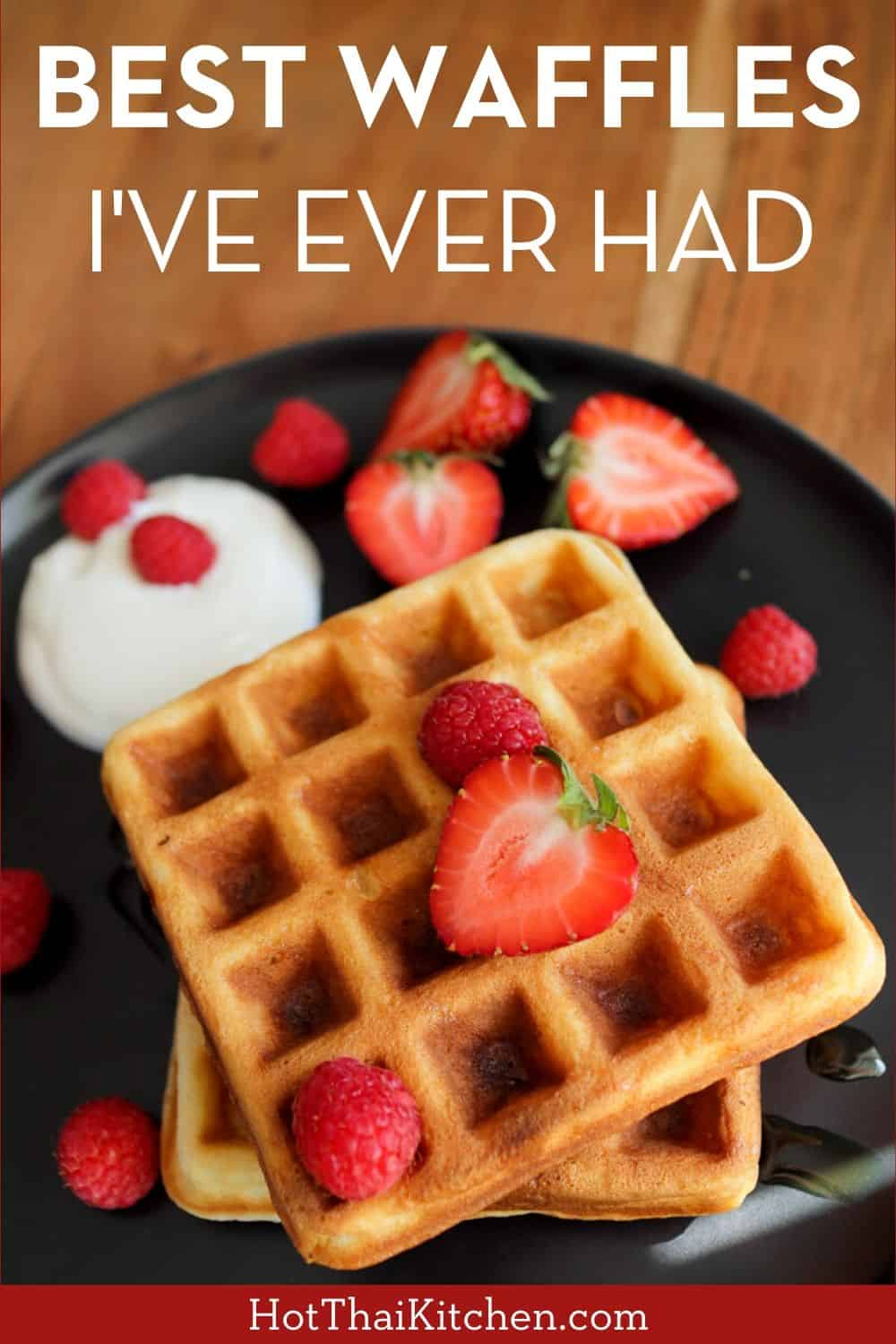 A secret ingredient makes these super crispy on the outside and moist and fluffy on the inside. They're so easy and freeze well! #waffles #breakfastrecipe