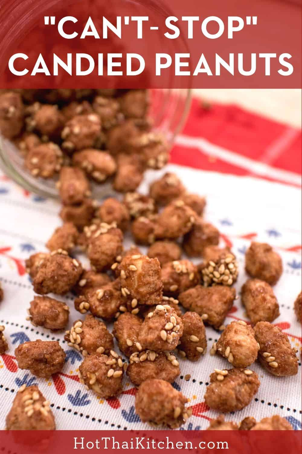 Super addictive snacks that can be easily made in 20 minutes. Peanuts coated in crunchy candy and fragrant sesame seeds! #glutenfree #vegan #thaifood