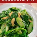 Easy and delicious vegetable side dish perfect for a weeknight meal. Gai lan (Chinese broccoli) stir-fried with garlic and oyster sauce goes well with any Asian meal! #sidedish #veggierecipe #hotthaikitchen