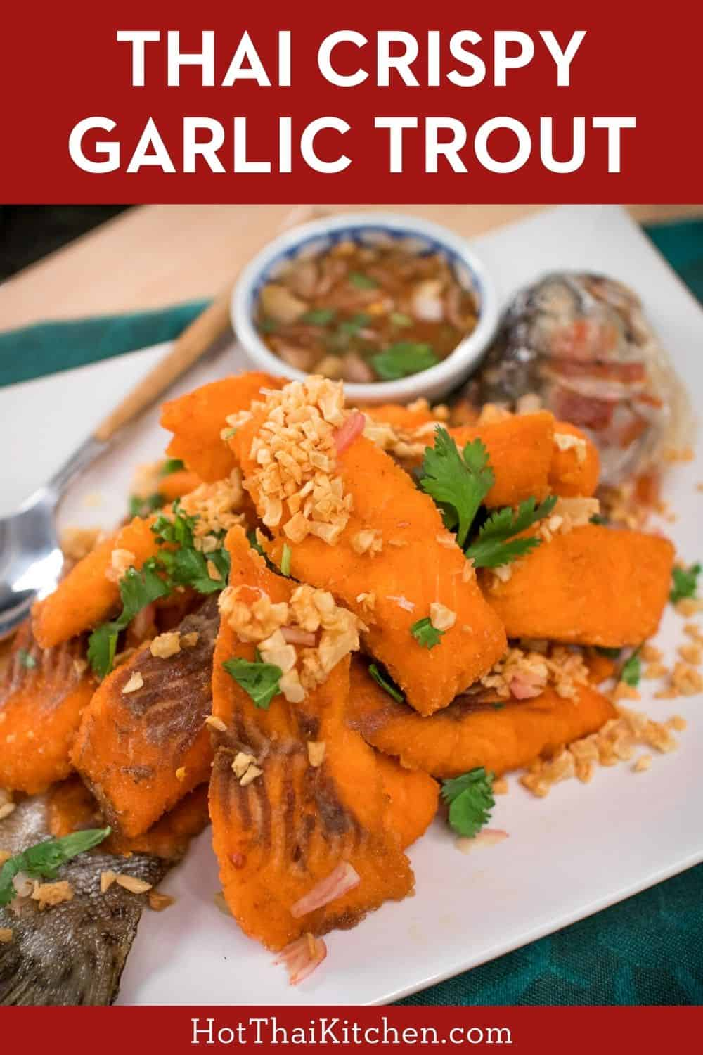 This authentic Thai preparation works with any fish. Crispy fried garlic with crispy fried fish, served with a tart, fresh, and spicy sauce. It's to die for! #thairecipe #fishrecipe #troutrecipe
