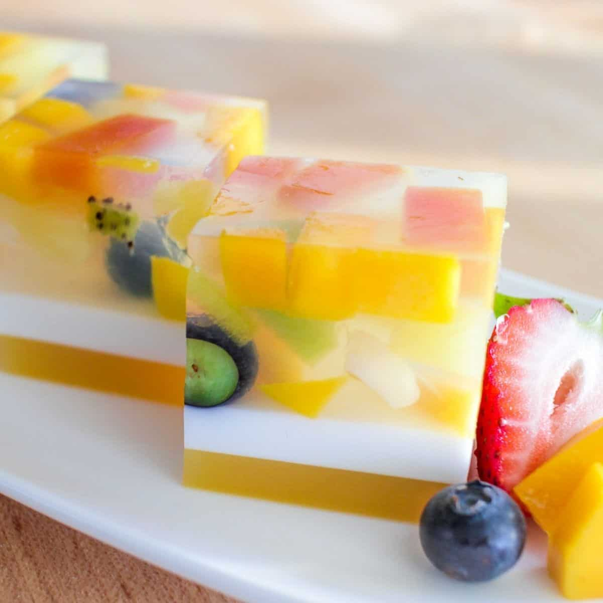 A plate of agar fruit jelly cubes