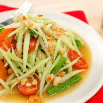 A plate of Thai green papaya salad