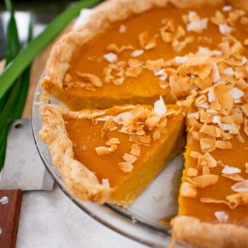 A pumpkin pie with toasted coconut on top