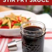 Pinterest image of a stir fry sauce in a mason jar