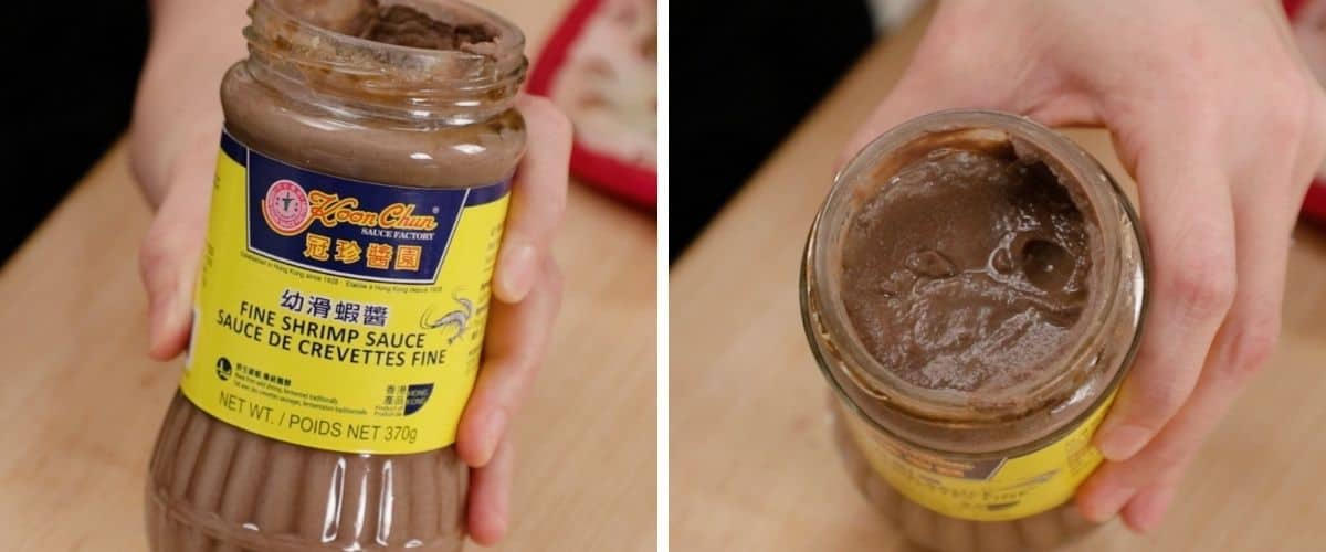 An image of Chinese fermented shrimp sauce jar and another image showing the inside.