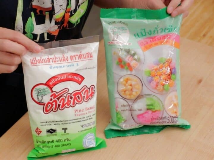 a bag of mung bean starch and tapioca starch