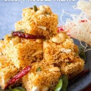 """A plate of crispy noodle treats with text """"Sweet & Sour Crispy Noodle Treats"""" and """"hotthaikitchen.com"""""""